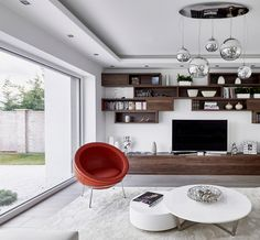Interior Design at its best # internorm Living Room Goals, Windows And Doors, Ceiling Lights, Interior Design, Kitchen, Table, Composition, Dreams, Inspiration