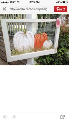Pumpkins painted on an old window.