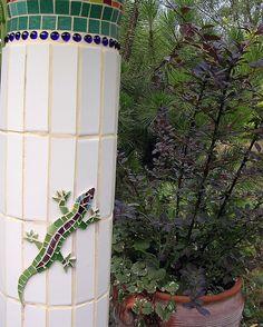 Lizard on Bird Bath