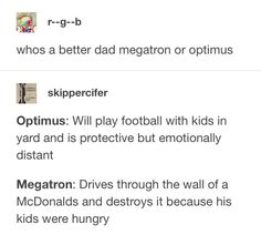Transformers Fan art and Memes - Mega and Ops Transformers Memes, Optimus Prime, Screwed Up, Sound Waves, Funny Texts, Just In Case, Fandoms, Lol, Humor