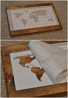 Take a map cut to fit old wood or pallet piecesage with stain or all things bright and beautiful diy world map wall art gumiabroncs Choice Image