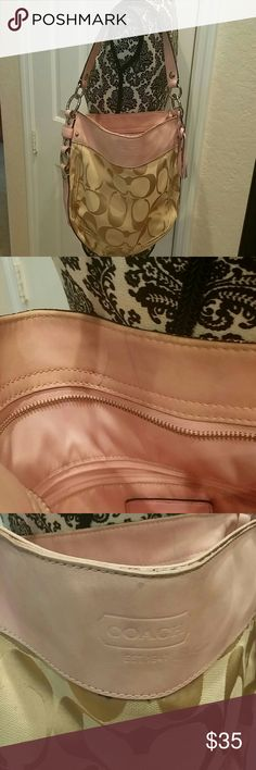 Coach Shoulder Bag Pink Coach Shoulder Bag with a zipper,ink mark. And a little worn and color fades shown in the photo Bags Shoulder Bags