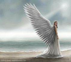 Spirit Guide blank greetings card by fantasy artist Anne Stokes. Angel greetings card by Anne Stokes. Anne Stokes, Angels Among Us, Angels And Demons, Fallen Angels, Angels And Fairies, Angel Protector, I Believe In Angels, Ange Demon, Angel Pictures