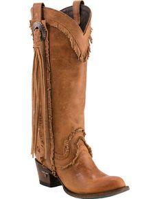 Lane Womens Sierra Fringe Boots -  Round Toe , Tan