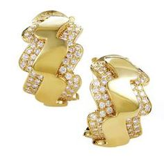 Van Cleef & Arpels Diamond Gold Zigzag Clip-on Earrings