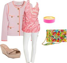 """""""Pink Tweed and Paisley"""" by classicprep on Polyvore"""