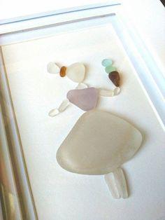 Sea glass ice cream maiden// Sea glass art// by RedIslandSeaGlass Sea Glass Crafts, Sea Crafts, Sea Glass Art, Stone Painting, Rock Painting, Rainy Day Crafts, Framed Artwork, Wall Art, Stick Art