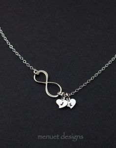Silver Infinity Necklace.Initial Heart by MenuetDesigns on Etsy, $28.50