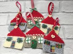 'Scottish Cottage' Hot off my knitting needles and one of my own designs! A pair of beautifully crafted knitted houses, ideal for hanging on the Christmas or Easter tree or for a decoration around the home. These can be made in colours of your choic. Christmas Tree Decorations, Christmas Gifts, Christmas Ornaments, Holiday Decor, Scottish Cottages, Knitted Heart, Easter Tree, New Home Gifts, Mobile Price