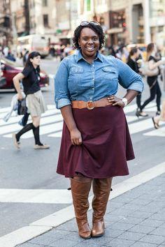 Plus Size Fashion - Plus Size Outfit Idea - Talbots Plus Size Denim Shirt Burgandy Skirt Work