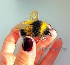 OOAK Needle Felted Queen Fluffy Bumble Bee with Sparkly Wings