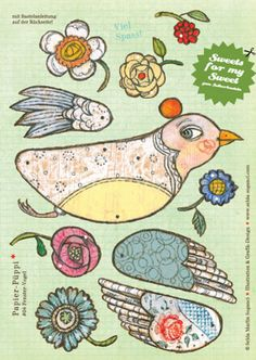 this website has gorgeous paper dolls you purchase and assemble yourself Paper Puppets, Paper Toys, Art Carton, Paper Art, Paper Crafts, Foam Crafts, Art Origami, Paper Birds, Bird Crafts