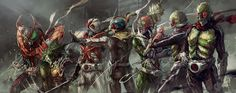 Kamen Rider Stronger, Amazon, X, Riderman, V3, Nigo & Ichigo.. drawn by nurikabe (mictlan-tecuhtli)