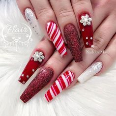 Peppermint candy cane coffin nails