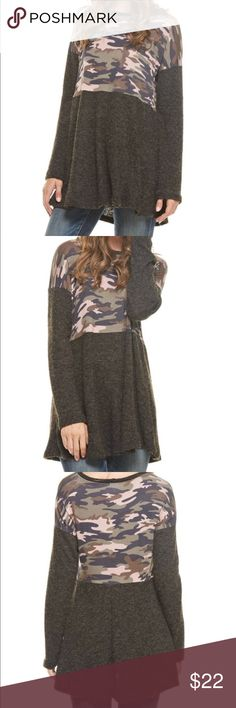 🆕 Charcoal Camouflage Print Tunic The tunic will go perfectly with riding boots and black leggings. Fits true to size. Tops Tunics