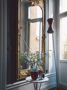 Gilt mirror + modern floor lamp luxury furniture, Exclusive Design, Designer Furniture, Interior Design, Best decor, Decorating secrets, entrance hall,living area. get inspired on: http://www.bocadolobo.com/en/inspiration-and-ideas/