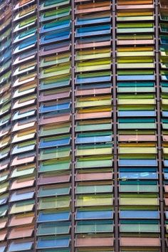 A wall of coloured windows