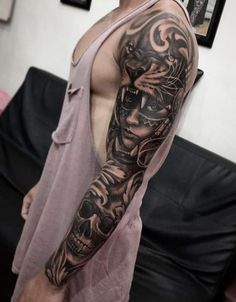 Tattoo Sleeve Women Drawing Faces 28 Trendy Ideas Tattoo Sleeve Women Drawing Faces 28 Trendy Ideas This. Tiger Tattoo Sleeve, Arm Sleeve Tattoos, Sleeve Tattoos For Women, Tattoo Sleeve Designs, Forearm Tattoo Men, Tattoo Designs Men, Tattoos For Guys, Tattoo Sleeves, Tattoo Arm