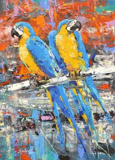 ARTFINDER: Guacamayas - Original Palette Knife o... by Dmitry Spiros - Guacamayas - Original Palette Knife oil Painting on Canvas by Dmitry Spiros. Size: 52cm x 73cm Guacamayas - Modern Art. Palette Knife oil acrylic Painting o...