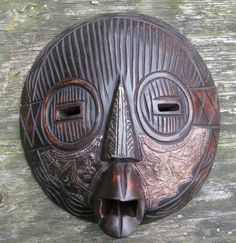 Carved Wood African Mask, Ghana, West African