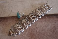 Vintage Silver Tone Ring With Turquoise Stone And Silver Tone Tribal BOHO Chic Bracelet Set With Swirl Motif Unmarked