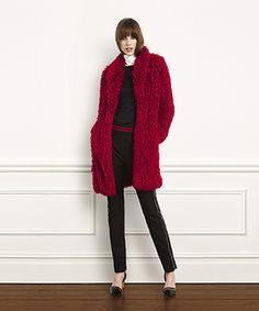 Simply Red Faux Curly Lamb Coat