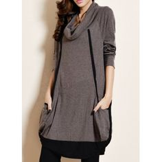 Wholesale Color Block Loose-Fitting Stylish Cowl Neck Long Sleeve Women's Dress (KHAKI,ONE SIZE), Long Sleeve Dresses - Rosewholesale.com