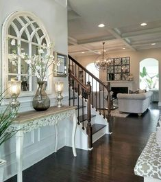 Diy farmhouse entryway inspiration 44 – Do It Yourself Style At Home, Home Living Room, Living Room Decor, Casa Magnolia, Arch Mirror, Mirror Ideas, Entry Table With Mirror, Window Mirror Decor, Arched Window Mirror