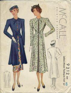 McCall 9212 | 1937 Ladies' & Misses' Redingote Coat