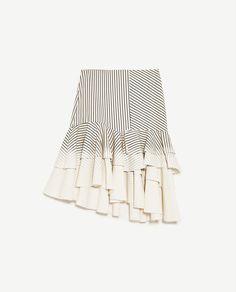 Image 6 of ASYMMETRIC DENIM SKIRT WITH STRIPES from Zara