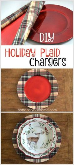 DIY Plaid Chargers - made with wrapping paper! -- from Hallmark and Sondra Lyn at Home