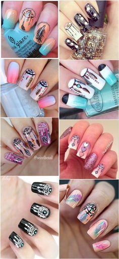 Boho dreamcatcher nail art ideas