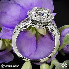 Platinum Verragio Split Shank Halo Diamond Engagement Ring set with a beyond stunning 2.712ct I VS2 A CUT ABOVE® Hearts and Arrows Super Ideal Diamond.