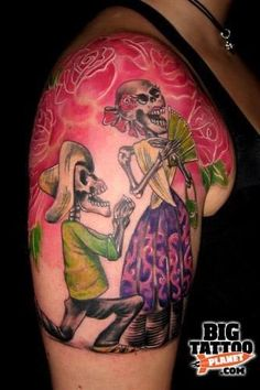 Risultati immagini per skeleton couple tattoo Pin Up Tattoos, Skull Tattoos, Couple Tattoos, Girl Tattoos, Sleeve Tattoos, Neck Tattoos, Tatoos, Tattoo Foto, I Tattoo