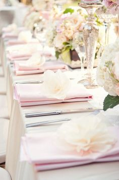 Table setting without plates for buffet . pale pink napkins, pink and cream table decorations Wedding Table Flowers, Wedding Napkins, Wedding Table Settings, Wedding Centerpieces, Wedding Decorations, Place Settings, Wedding Cutlery, Pink Table, Table Set Up
