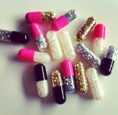 As prescribed: Take one when you're feeling down and only in an emergency ladies! Directions: pop open a glitter pill and let the glitter fall around you - they'll brighten up your day!