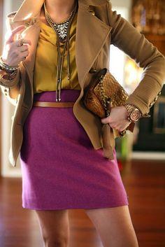 ...a fuschia skirt and a va-va-voom short trench.