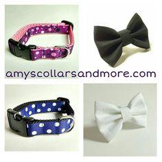 Purple with black and blue with white.  #amyscollarsandmore #dogcollars #polkadots #etsy #etsyshop #etsyseller #etsywholesale #sale #forsale #dogclothes #dogbowtie #cute #stylish #fashion #fashionista #blackandwhite #blue #purple #supadupa