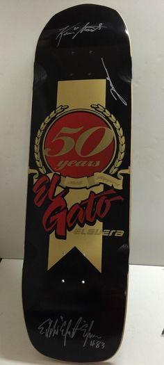 Eddie Elguera EL GATO 50 Years Skateboard DECK AUTOGRAPHED + L. UEDA & K. STAAB #EddieElguera Vintage Skateboards, Skateboard Decks, Ebay, Gatos, Skateboards, Skate Board
