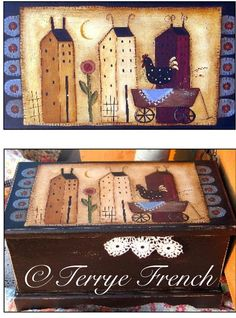 Folk Black Chest by Terrye French email by PaintingWithFriends