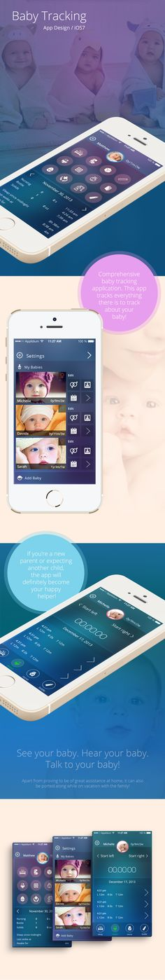 Baby tracking App / iOS7 by Gina Vitan, via Behance
