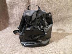 Vintage 90's Black PVC Vinyl Drawstring Mini Backpack / Satchel