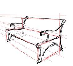 Interior Design Sketches, Industrial Design Sketch, Sketch Design, Perspective Drawing Lessons, Perspective Sketch, Basic Drawing, Technical Drawing, Geometric Shapes Art, Drawing Furniture