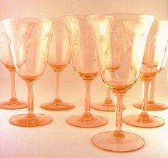 Crystal Stemware Pink Depression Glass Etched Optic Panel Set of 8, available at: TidBitz.etsy.com, $85.00