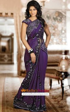 Lovely purple saree. Love the embroidery so much <3