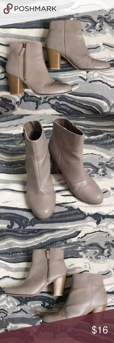 Gray zipper ankle booties  9 Charlotte Russe - rounded, slightly tapered toe - taupe / warm grey exterior - lined - side zipper - chunky heel faux wood - perfect boots for fall  Charlotte Russe size 9 Good worn condition - some creasing, some marks, please see pictures Shoes