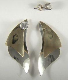 EARRING JACKETS Gemstone Enhancer Two Tone Sterling by earcuffs, $65.00