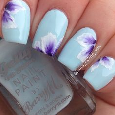 Marvelous BarryM Huckleberry a simple onestroke flower combo – nail design The post BarryM Huckleberry a simple onestroke flower combo – nail design… appeared first on Nails . Fancy Nails, Cute Nails, My Nails, Flower Nail Designs, Nail Art Designs, Floral Nail Art, Pretty Nail Art, Flower Nails, Gorgeous Nails