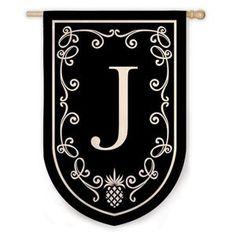 J Pineapple Monogram Flag Celtic Fonts, English Alphabet Letters, Pineapple Monogram, Mailbox Covers, Custom Flags, Collections Etc, Letter J, House Flags, Front Door Decor