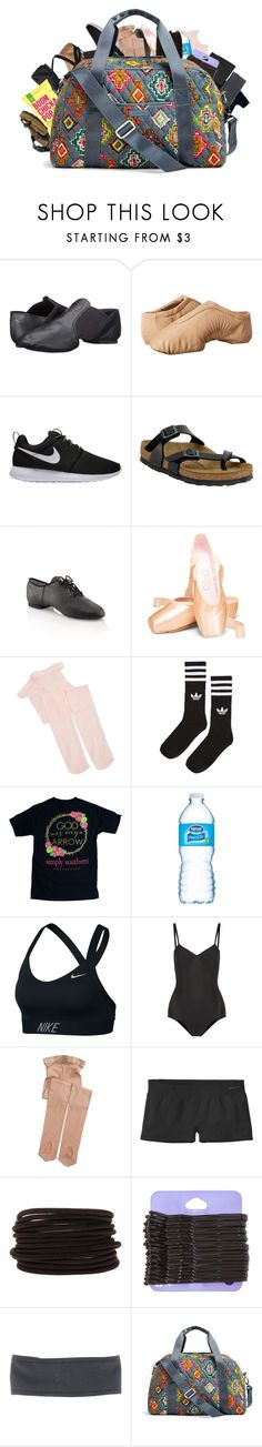 """What's In My Dance Bag"" by pandadance ❤ liked on Polyvore featuring Capezio, Bloch, NIKE, Birkenstock, adidas, Ballet Beautiful, Patagonia, Under Armour and Vera Bradley"